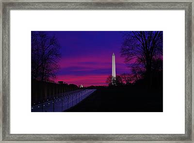 Vietnam Memorial Sunrise Framed Print by Metro DC Photography