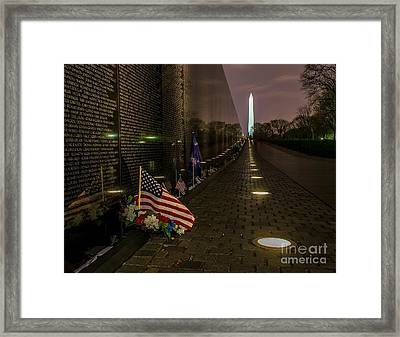 Vietnam Veterans Memorial At Night Framed Print