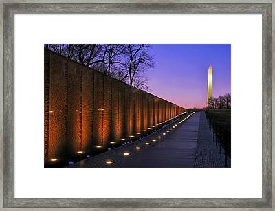 Vietnam Veterans Memorial At Sunset Framed Print