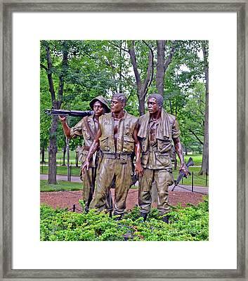 Vietnam War Memorial Three Servicemen Statue In Washington D.c. Framed Print