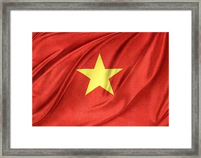 Vietnamese Flag Framed Print by Les Cunliffe