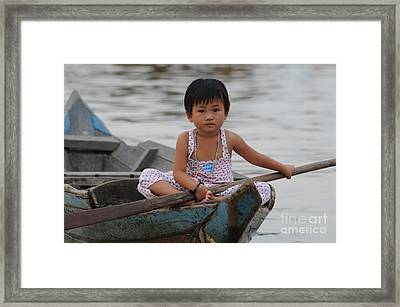 Vietnamese Girl On Lake Tonle Sap Framed Print