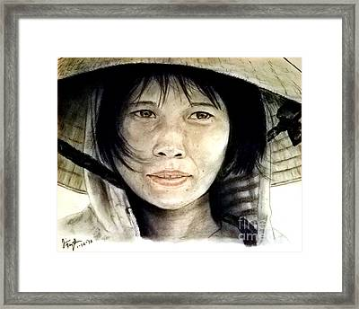 Framed Print featuring the pastel Vietnamese Woman Wearing A Conical Hat by Jim Fitzpatrick