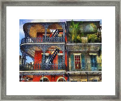 Framed Print featuring the photograph Vieux Carre' Balconies by Tammy Wetzel