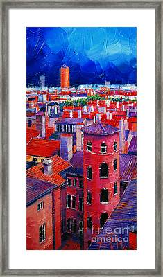 Vieux Lyon Rooftops  Framed Print by Mona Edulesco