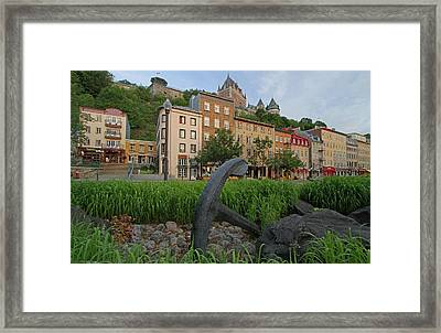 Vieux Port And Chateau Frontenac In Quebec City Framed Print by Juergen Roth