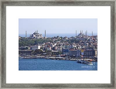 View Across The Bosphorus To The Hagia Sophia And The Blue Mosque Framed Print by Robert Preston