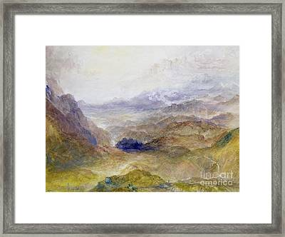 View Along An Alpine Valley Framed Print by Joseph Mallord William Turner