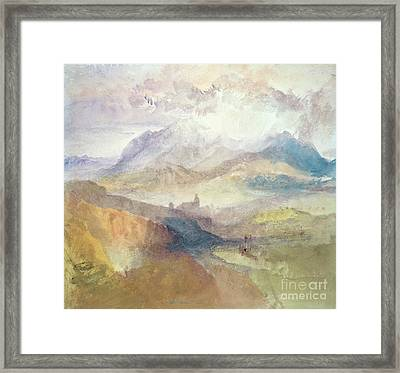View Along An Alpine Valley Possibly The Val D'aosta Framed Print
