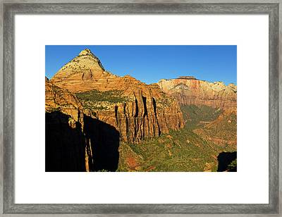 View Down Into Zion Canyon From Canyon Framed Print by Chuck Haney