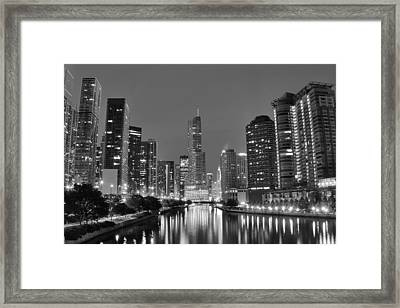 View Down The Chicago River Framed Print