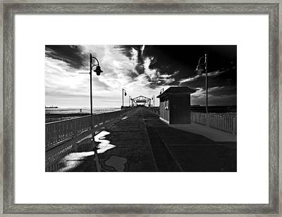 Framed Print featuring the photograph View Down The Pier by Joseph Hollingsworth