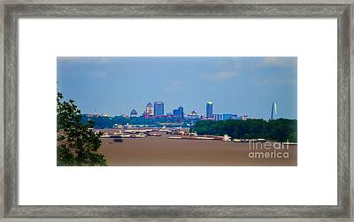 View From A Far St. Louis Downtown Framed Print by Peggy Franz
