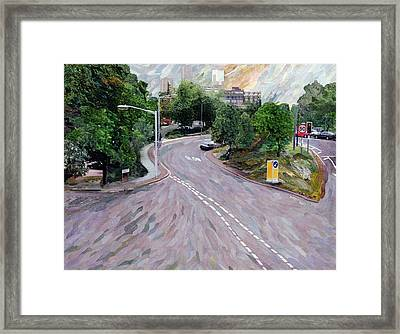 View From A Flyover Paper Mosaic Collage Framed Print