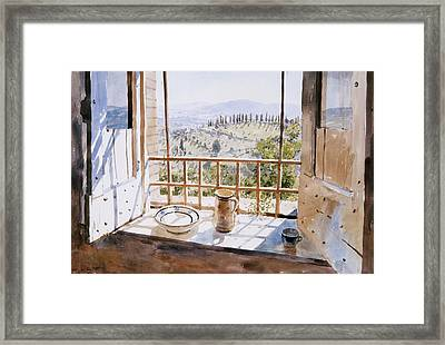 View From A Window Framed Print by Lucy Willis