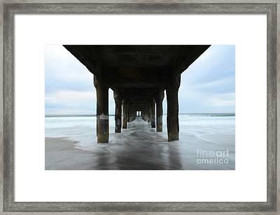 View From Below Manhattan Beach Pier Framed Print by Bob Christopher