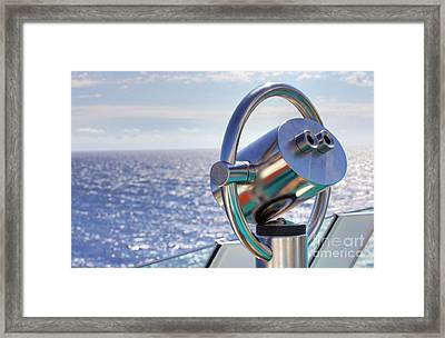 View From Binoculars At Cruise Ship Framed Print by Lars Ruecker