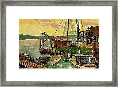 View From Boat Club In Middletown Ct Around 1910 Framed Print