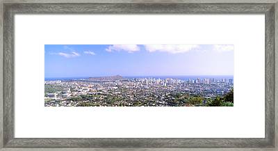 View From Diamond Head Volcano Framed Print by Panoramic Images