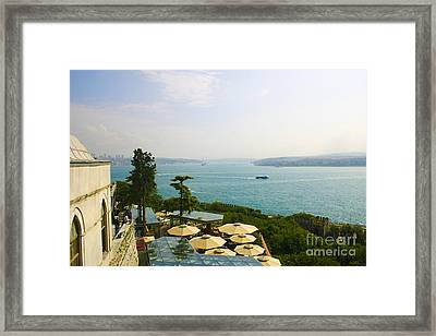 View From Konyali Restaurant To Bosphorus Bridge Connecting Europe And Asia Istanbul Turkey Framed Print by PIXELS  XPOSED Ralph A Ledergerber Photography