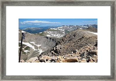 View From Mt Sherman Summit Framed Print by Claudette Bujold-Poirier