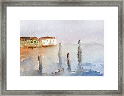 View From Murano Watercolor Painting Of Venice Framed Print