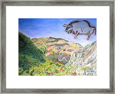 View From Niaux Cave In France Framed Print
