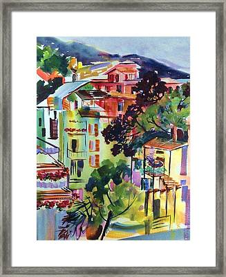 View From Our Hotel Window Cinque Terre Framed Print by Therese Fowler-Bailey