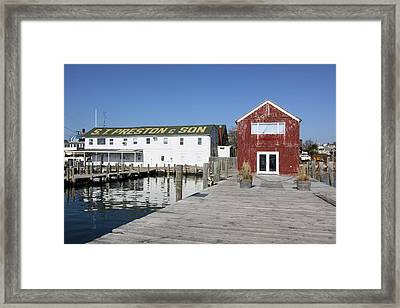 View From Pier Greenport New York Framed Print by Bob Savage