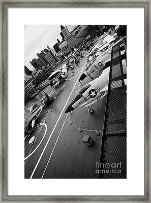 view from the bridge of the USS Intrepid at the Intrepid Sea Air Space Museum new york city Framed Print