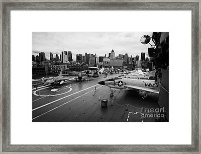 view from the bridge of the USS Intrepid at the Intrepid Sea Air Space Museum new york city usa Framed Print