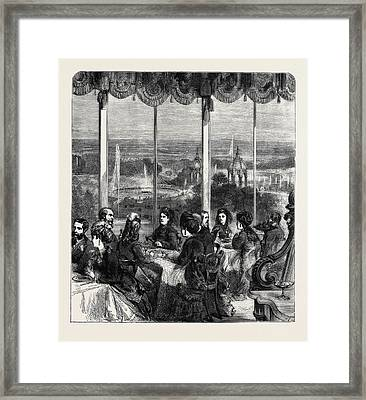 View From The Crystal Palace Grand Saloon Summer Dining Room Framed Print by English School