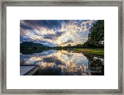 Framed Print featuring the photograph View From The Dock by Kari Yearous