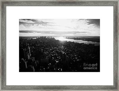 View From The Empire State Building Over Lower Manhattan New York City Usa Framed Print by Joe Fox