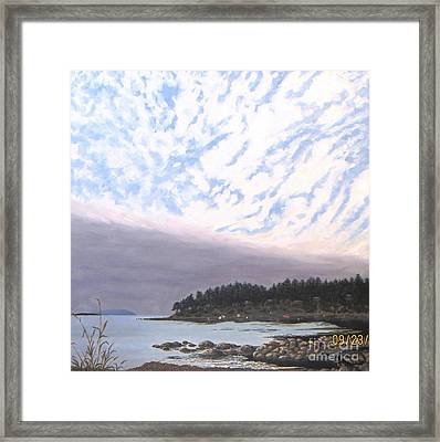 View From The Haven Beach Gabriola Framed Print by Beverly Theriault