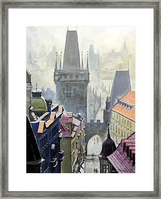 View From The Mostecka Street In The Direction Of Charles Bridge Framed Print