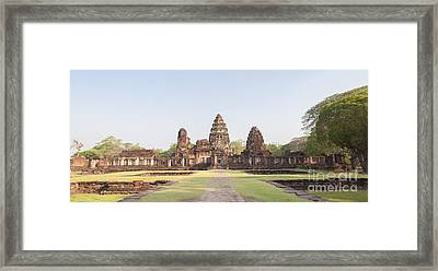 View From The Passage Way Of Prasat Hin Phimai Temple In Thailand Framed Print by Roberto Morgenthaler