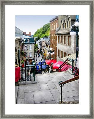 View From The Stairs Old Quebec City  Framed Print by Ann Powell