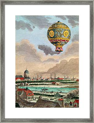 View From The Terrace Of Monsieur Franklin At Passy Of The First Flight Under The Direction Framed Print