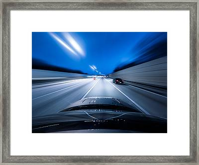 View From The Top Of A Car Driving Down Framed Print by Darekm101