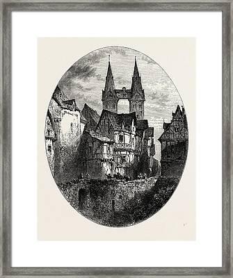 View In Boppart, The Rhine, Germany Framed Print by German School