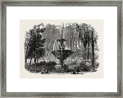 View In The Park, Savannah, United States Of America Framed Print