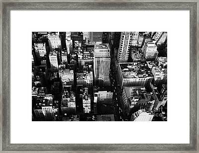 View North And Down Towards Building Rooftops And Fifth 5th Avenue Ave From Empire State Building Framed Print by Joe Fox