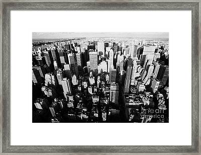 View North And Down Towards Central Park From Empire State Building Framed Print by Joe Fox
