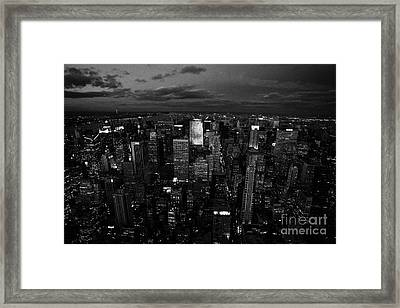 View North At Dusk Towards Central Park New York City Night Cityscape Framed Print