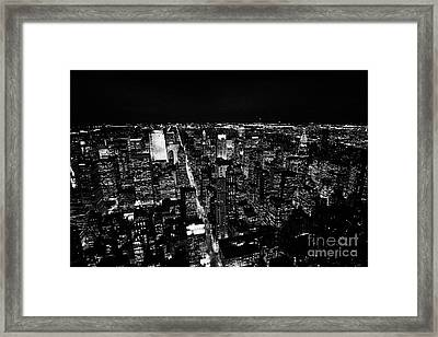 View North At Night Towards Central Park At Night New York City Skyline Framed Print