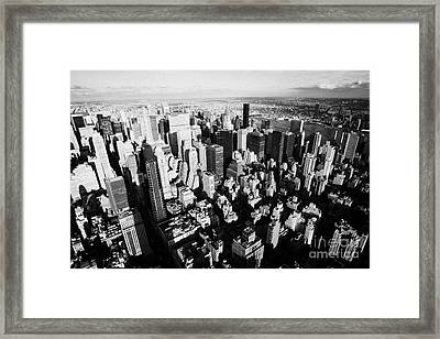 View North East Of Manhattan Queens East River From Observation Deck Empire State Building Framed Print by Joe Fox