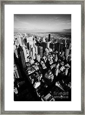 View North East Of Manhattan Queens East River From Observation Deck Empire State Building New York Framed Print by Joe Fox