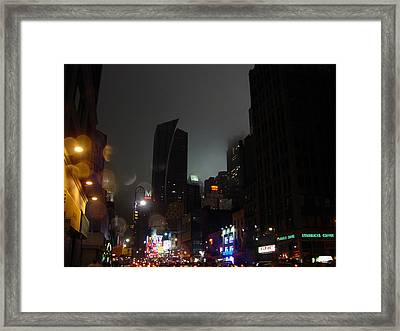 view of 8th Ave before New York Times building Framed Print by Mieczyslaw Rudek Mietko