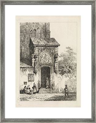 View Of A Church Portal, Cornelis Springer Framed Print by Quint Lox